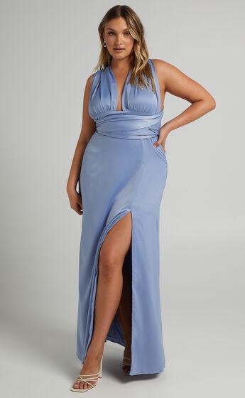 Whimsical Dream Multi Tie Maxi Dress in Cornflower Blue
