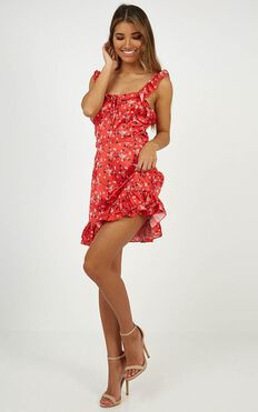 Doing Good Dress In Red Floral Satin