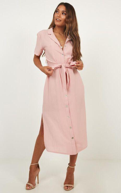 Morning Stroll Dress In Blush Linen Look