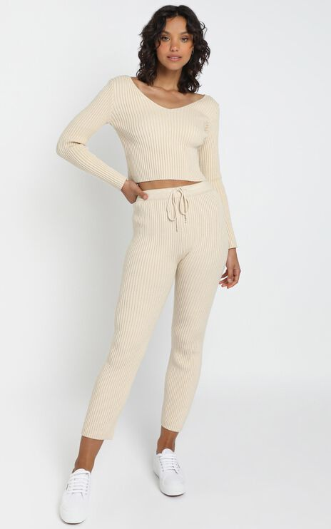 Gweneth Knit Pants in Beige