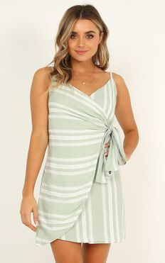 Letting Down Easy Dress in sage stripe