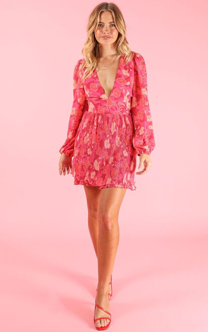 The Day We Met Dress in berry floral - 14 (XL), Pink, hi-res image number null