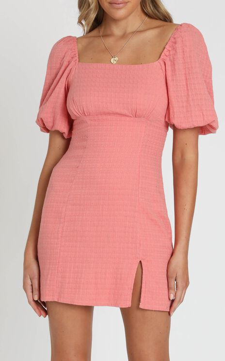 Electric Babe Dress in Coral