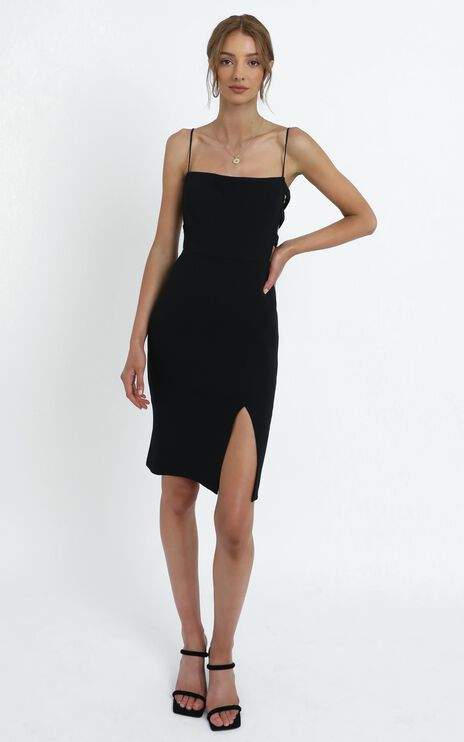 Leanne Cut Out Midi Dress in Black