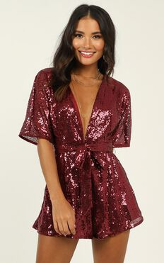 Star Behaviour Playsuit In Wine Sequin