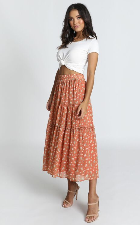 In Touch Skirt In Rust Floral