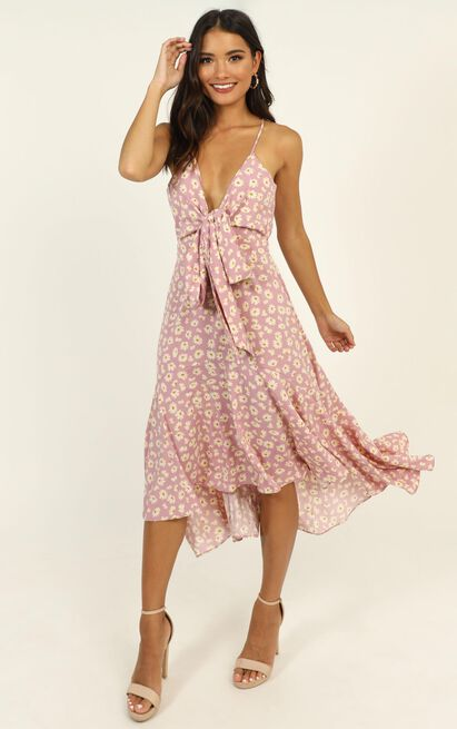 Casey Midi Dress in lilac floral - 14 (XL), Purple, hi-res image number null