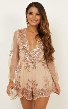 Big Baller Playsuit In Rose Gold Sequin