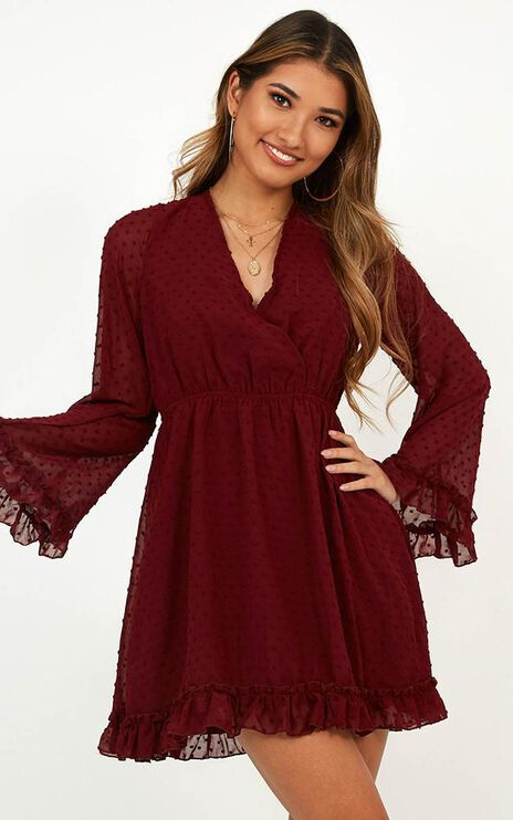 Stay Forever Dress In Wine