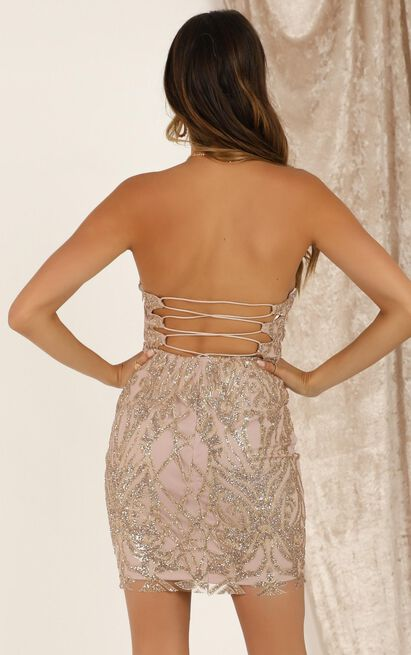 Let The Beat Drop dress in gold sequin - 16 (XXL), Gold, hi-res image number null