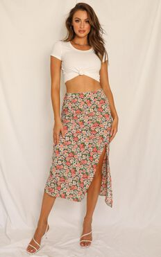 All For Us Skirt In Black Floral