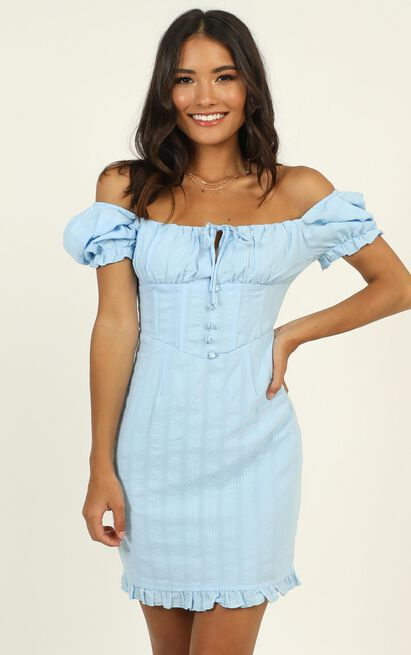 My Oh My Tie Front Mini Dress in blue - 12 (L), Blue, hi-res image number null