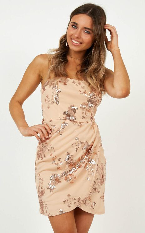 Dancing All Night Dress In Rose Gold Sequin