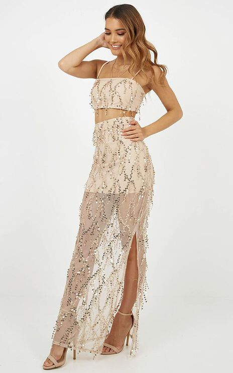 Take And Give Two Piece Set In Gold Sequins