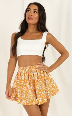 Calling All Hearts Short In Mustard Floral