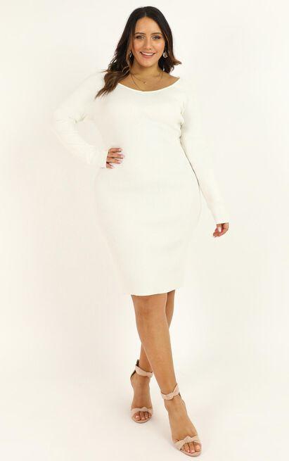 Just Pretending Knit Dress in cream - 6 (XS), Cream, hi-res image number null