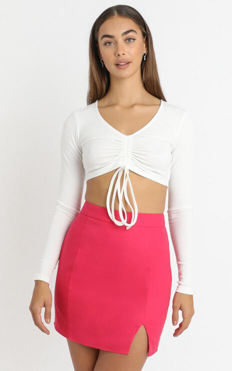 International Babe Skirt in Hot Pink Linen Look