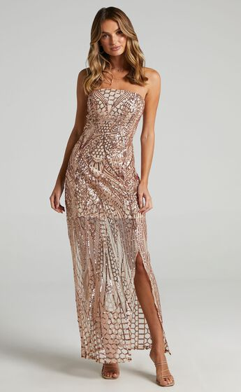 American Hero Maxi Dress in Rose Gold Sequin