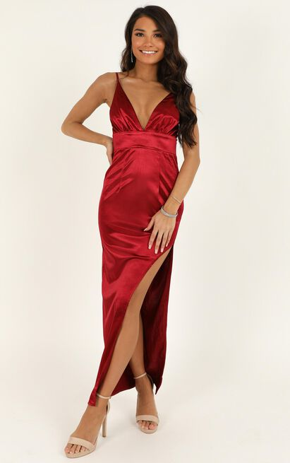 Why Not Now dress in wine satin - 12 (L), Wine, hi-res image number null