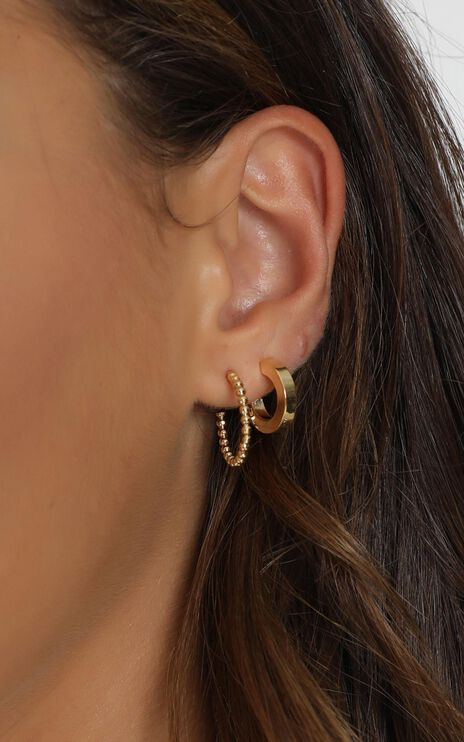 Minc Collections - Daylight Hoop Earrings Set In Gold