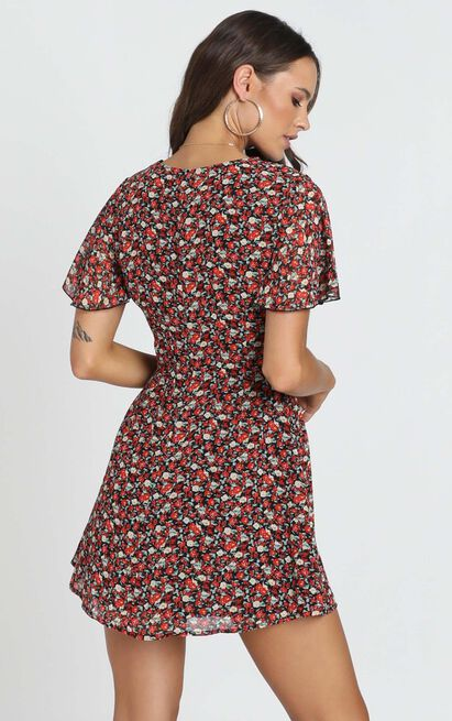 Maximum Potential Dress in black floral - 4 (XXS), Black, hi-res image number null