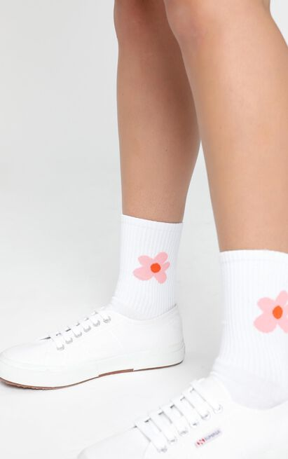 Fashion Footprint Flower Socks in White and Pink, , hi-res image number null