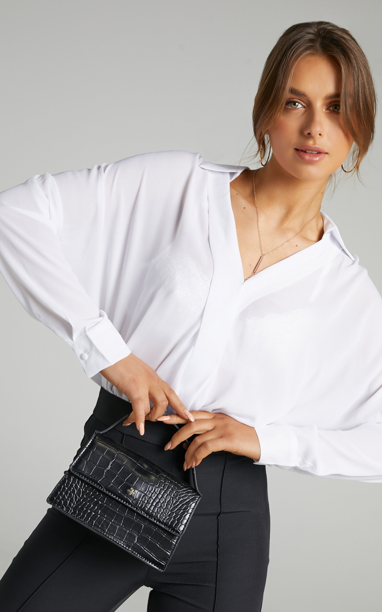 Paulie Fixed Longsleeve Wrap Shirt in White - 06, WHT1, super-hi-res image number null
