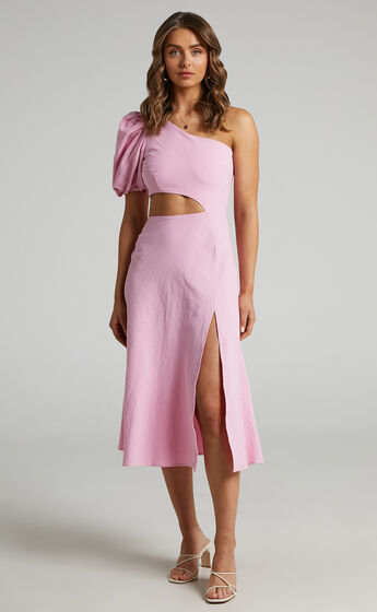 Marcia One Shoulder Midi Dress with Side Cut Out in Pink Linen Look