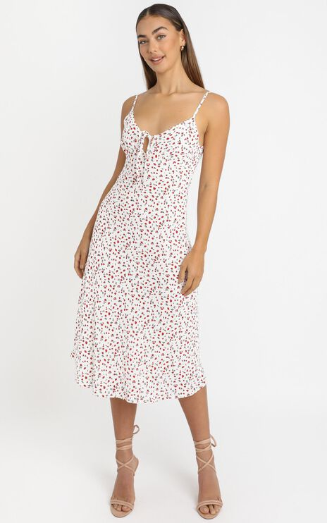 Toss The Dice Dress In White Floral