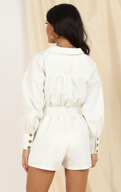 Happens To Us playsuit in white denim - 12 (L), White, hi-res image number null