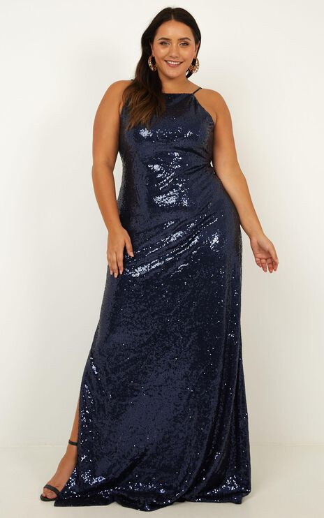 All Bets Off  Dress In Navy Sequin