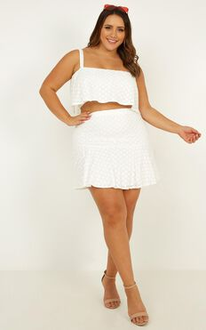 Sweetest Kiss Two Piece Set In White Anglaise