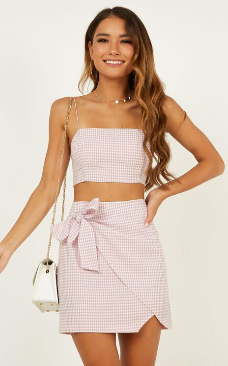 Keep On Turning Two Piece Set In Pink Gingham