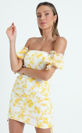 Cant Get You Off My Mind Off The Shoulder Mini Dress in Yellow