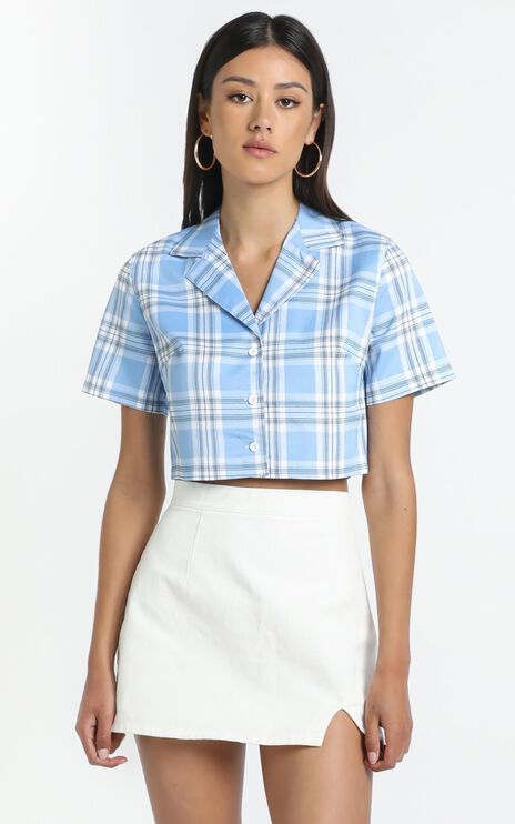 Amarah Top in Blue Check