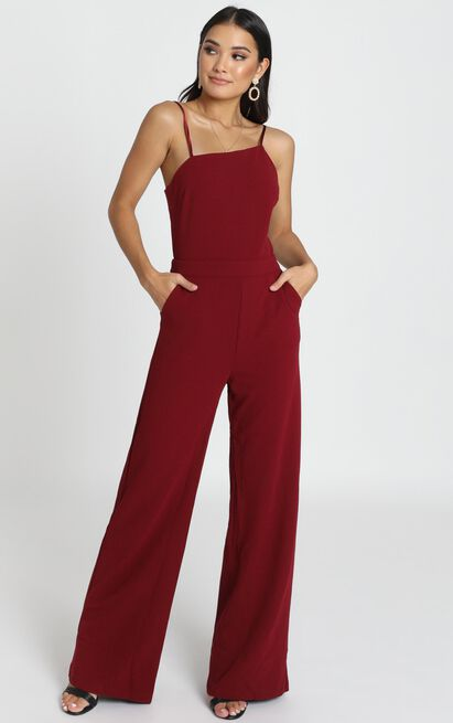 Cassie Asymmetric Jumpsuit in wine - 12 (L), Wine, hi-res image number null