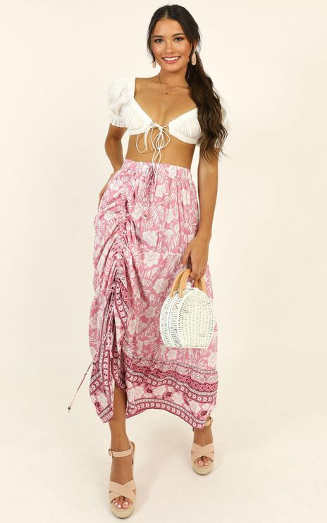 A World Apart Skirt In Pink Print