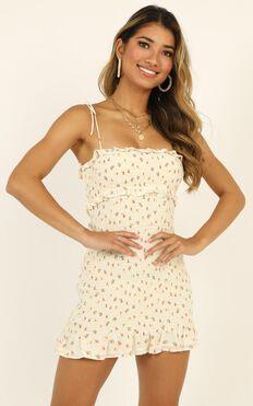 Dream Girl Shirred Mini Dress In Cream