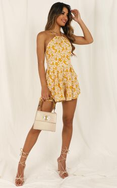 Across The Way Playsuit In Yellow Floral