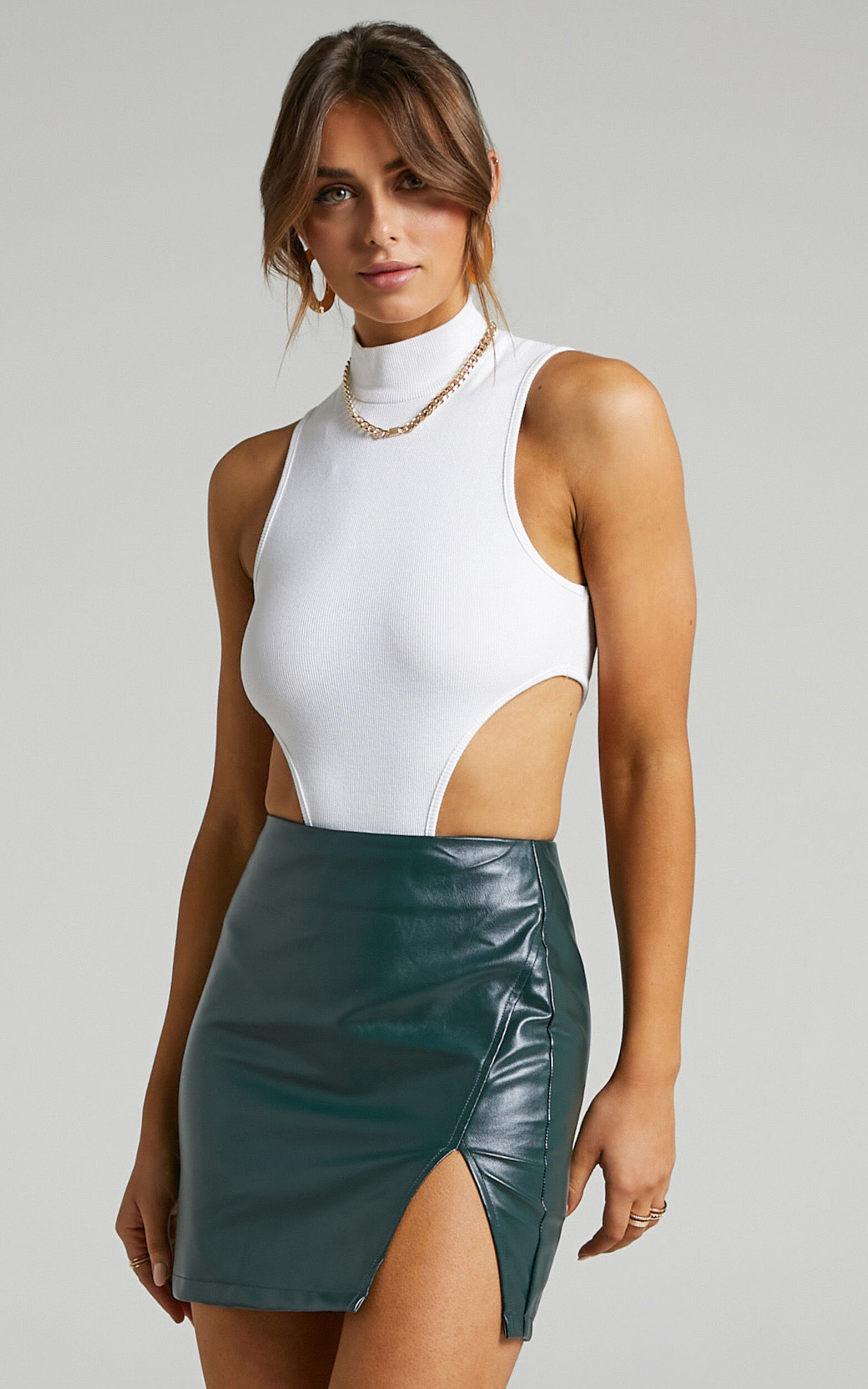 In The Name Of Love  Leatherette Mini Skirt in Emerald Leatherette - 04, GRN2, super-hi-res image number null