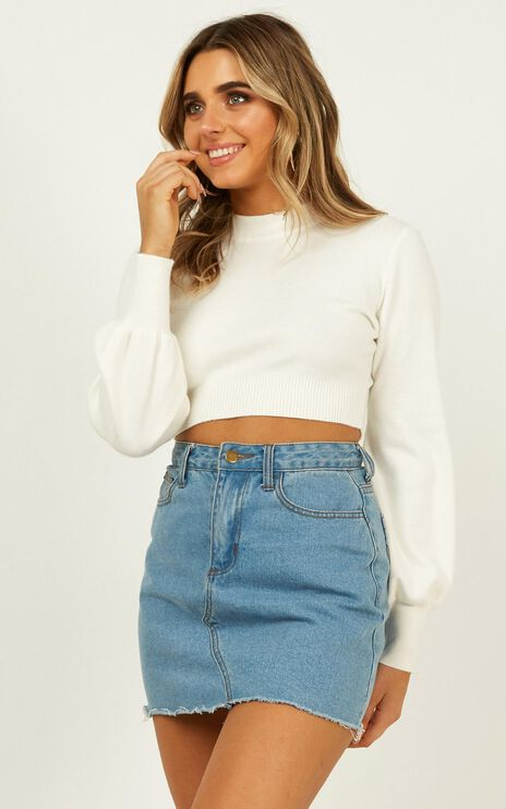 Jeni Cropped Knit Jumper In White