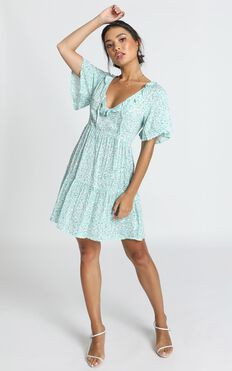 Kirby V-Neck Mini Dress In Blue Print