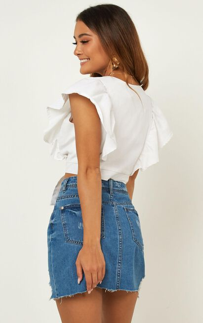 Looking Cool Crop Top In White Linen Look - 20 (XXXXL), White, hi-res image number null
