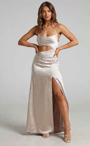 Myrtle Asymmetrical Dress in Champagne Satin