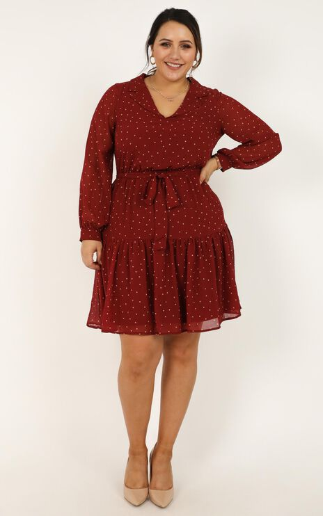 Rapid Progress Dress In Wine Spot