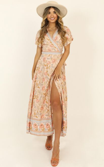 Byron Bound Dress in pink print - 14 (XL), Pink, hi-res image number null