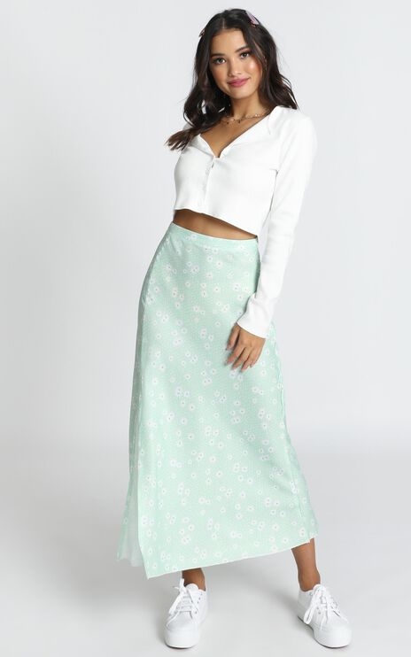 New Ways Skirt In Mint Floral