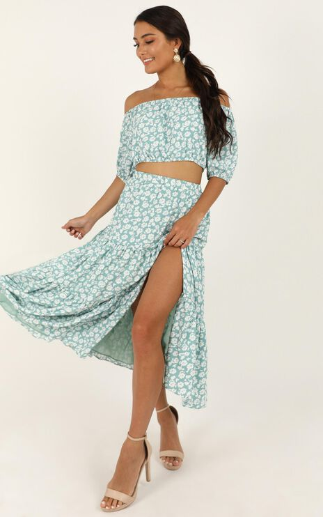 Distant Memory Two Piece Set In Sage Floral
