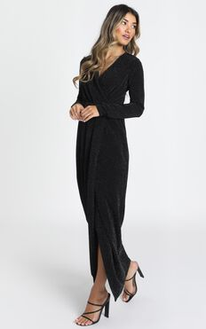 Clementine Long Sleeve Maxi Dress In Black Lurex