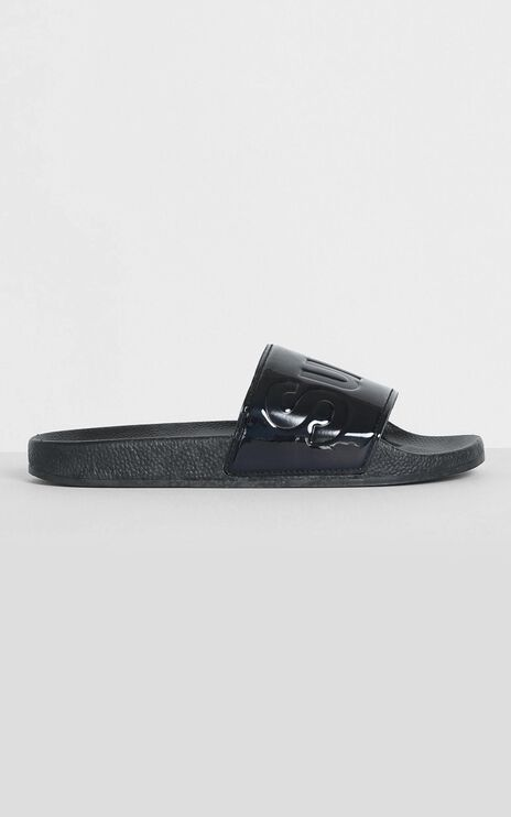 Superga - 1908 Puvarnish Slides in Black